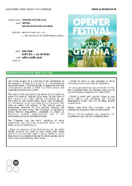 Bilet jednodnowy na Open'er Festiwal 5.07