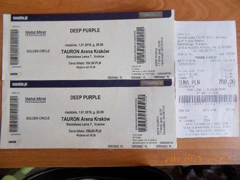 Deep Purple 2 bilety Golden Circle