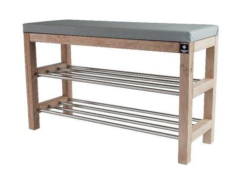 Regał Szafka Na Buty Naturalny Z Siedziskiem Kolory Drewno Lite RBS-27 Rozmiary od 50 cm do 120 cm
