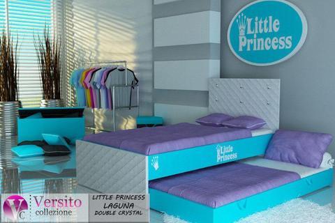 Łóżko piętrowe z KRYSZTAŁKAMI dla Księżniczek,łóżko dziecięce podwójne,piętrowe z materacami
