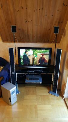 Zestaw kino domowe i telewizor Panasonic + piloty i stolik szklany RTV