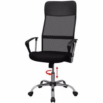 vidalXL Krzesło biurowe w połowie PU 61,5x60 cm Czarne(20128)