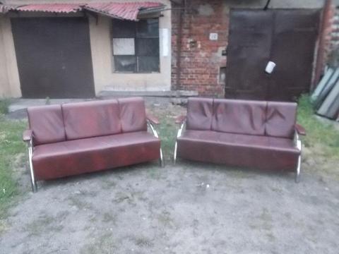 Sofa skórzana - 2 szt - idealna do recepcji/poczekalni/biura