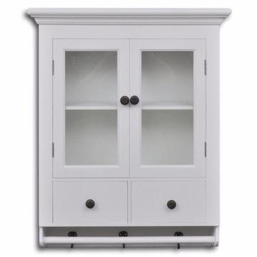 Wisząca szafka kuchenna w kolorze białym, przeszklone drzwi(241374)