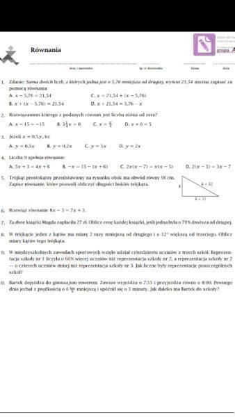 Matematyka kl 7 GWO - testy, sprawdziany, odpowiedzi